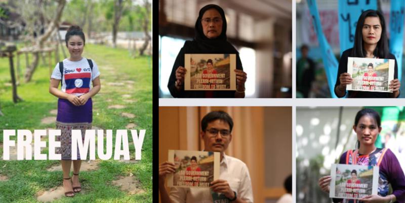 """Une compilation de 5 photos de personnes de toutes les générations posants avec une photo de Muay et reprenant le hashtag """"Libérez Muay"""""""