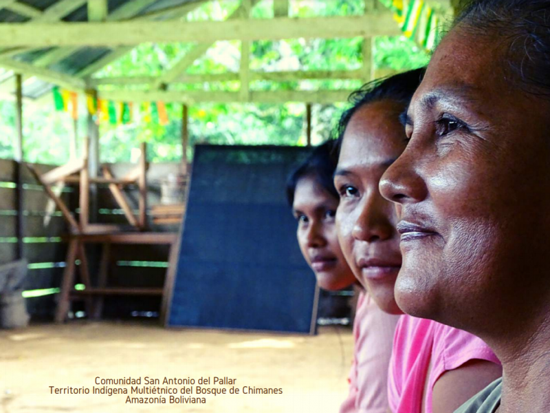 Visages de trois femmes de la Communauté de San Antonio del Pallar en Bolivie, prises de profil.