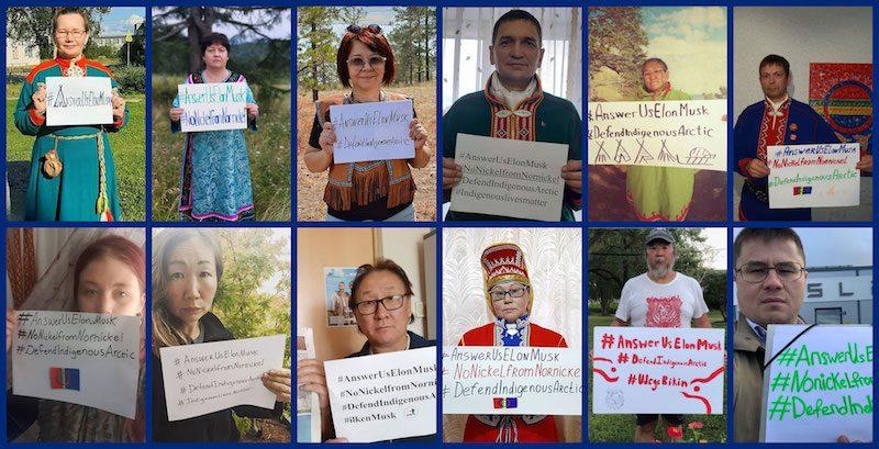 Des femmes et des hommes des communautés autochtones brandissent des pancartes pour protester contre la pollution de l'Arctique. Certain·e·s sont vêtu·e·s de costumes traditionnels.