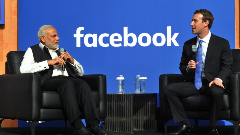 Indian Prime Minister Narendra Modi with the CEO of Facebook, Mark Zuckerberg in the USA (2015). Image from Flickr by Narendra Modi. CC BY-2.0.