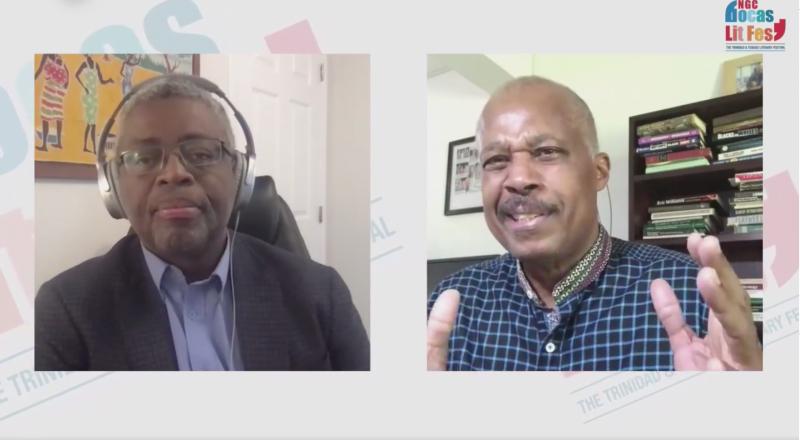 """Pamje nga ekrani i transmetimit të drejtpërdrejtë në Facebook të """"Çështjës për dëmshpërblime"""" të Bocas Lit Fest, një bisedë me Z.Hilary Beckles (djathtas), kryesuar nga Andy Knight (majtas), e cila u zhvillua në 11 Tetor 2020."""