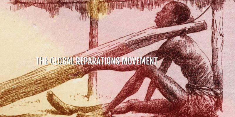 """L'affiche montre un esclave attaché à un tronc par le cou, avec le titre """"Mouvement mondial pour les réparations""""."""