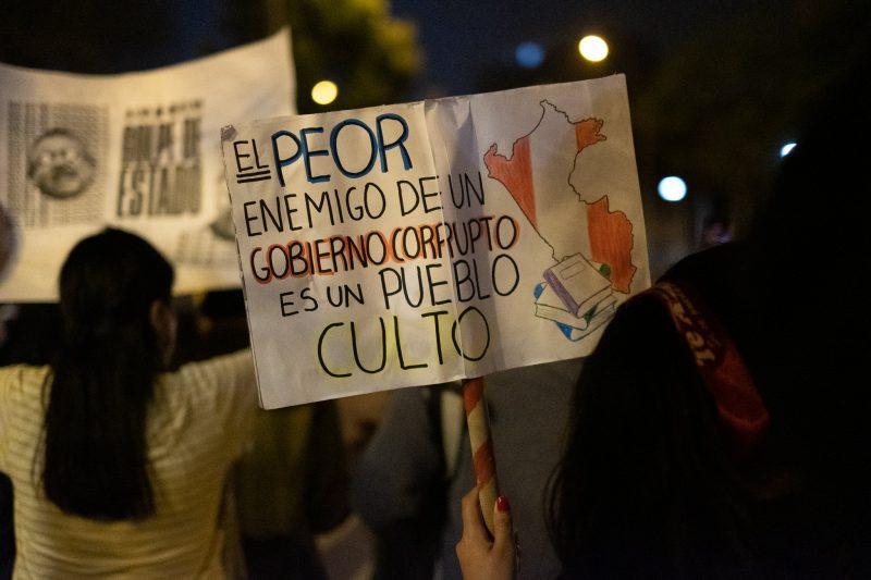 Manifestants vus de dos, de nuit. Au premier plan une banderole dit : « le pire ennemi d'un gouvernement corrompu est un peuple instruit »