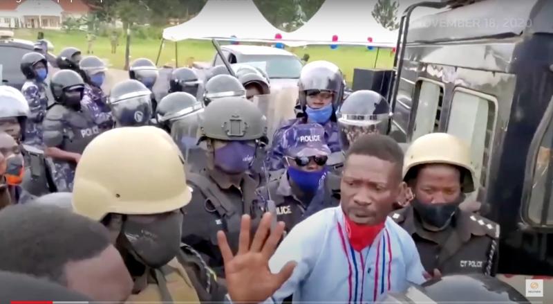 A You Tube screenshot at the scene of Bobi Wine's arrest in Luuka district