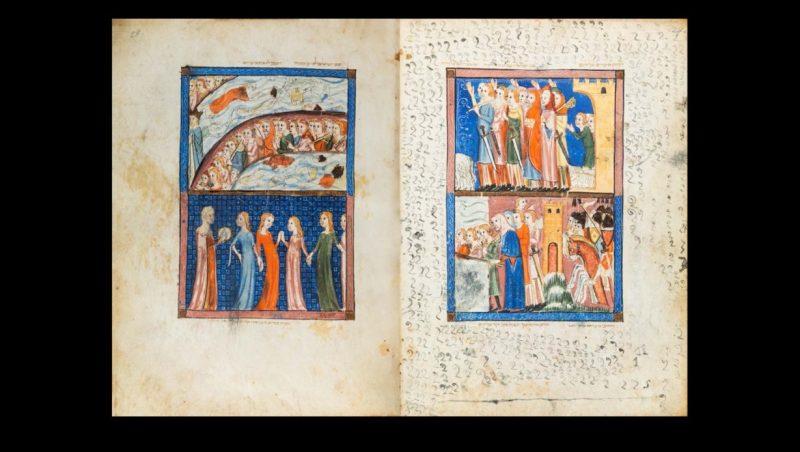 Deux pages illustrées en couleur de la Haggada de Sarajevo représentent l'histoire du peuple juif.