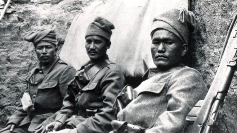 Gurkhas in the trenches of France during World War I. More than 20,000 Nepali soldiers were killed fighting for the Allied Forces between 1914-1918. Photo: Imperial War Museum via Nepali Times.
