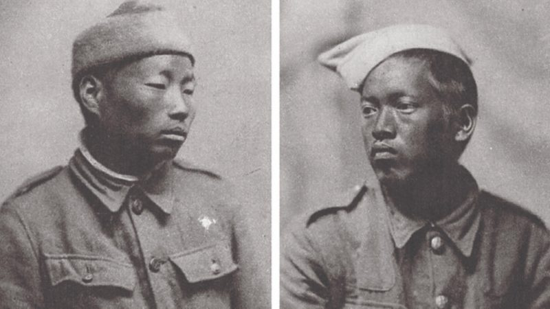 Two unnamed Gurkha prisoners of war in a German camp in Münster in 1916. Courtesy: Sir Kukri & Co, via Nepali Times