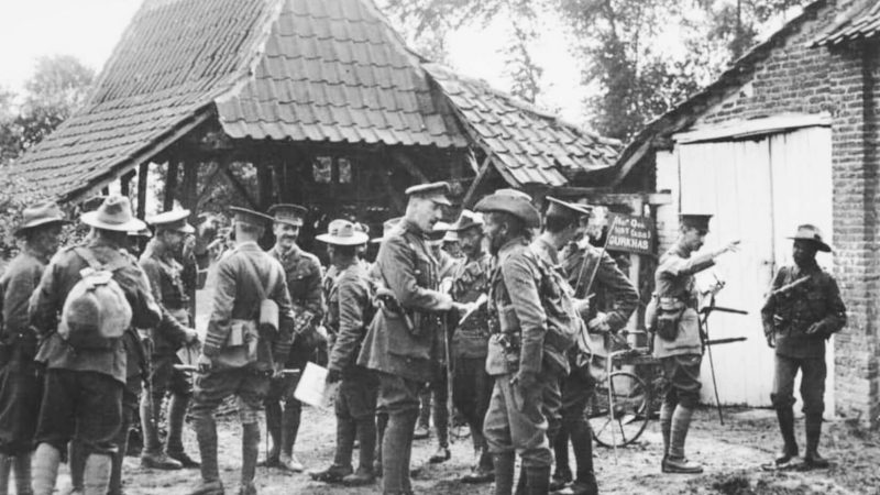 British Army officers with Gurkhas of the 'Indian Corps' at La Bassée at the beginning of the war.