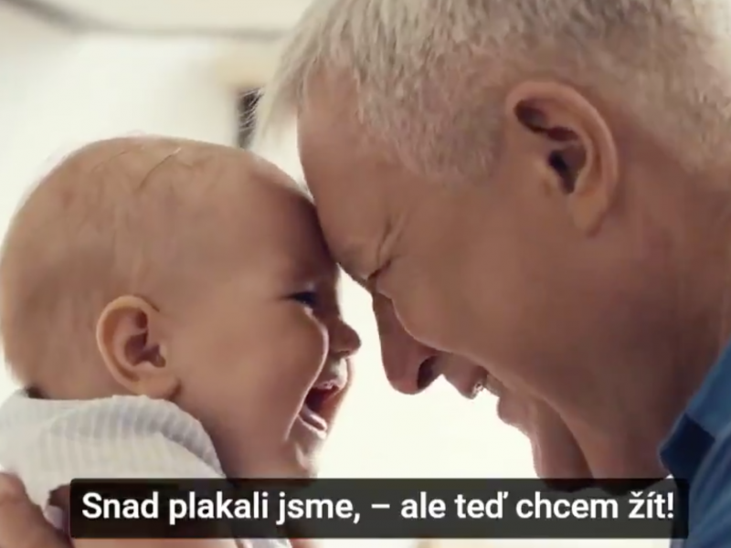 """Screenshot from <a href=""""https://twitter.com/strakovka/status/1343184159775330304"""">Twitter video</a> posted by the Office of the Czech Government to encourage Czechs to get vaccinated. The text is from a poem used for the campaign and says, """"Perhaps we cried, — but now we want to live!"""""""