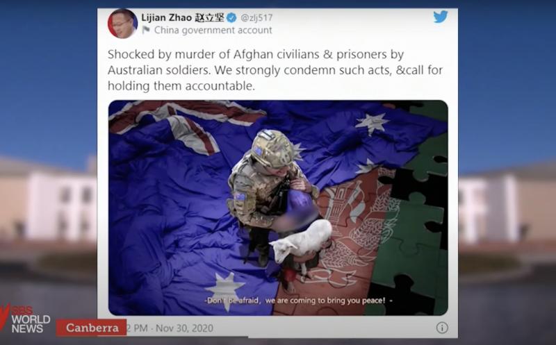 Screen Shot of Lijian Zhao tweet- SBS News video 30 Nov 2020