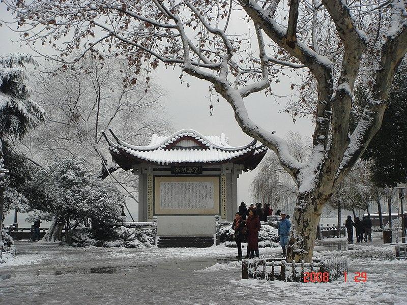 L'image montre un parc sous la neige. On distingue des petits groupes de personnes qui marchent, qui discutent. Elles sont emmitouflés. D'imposants arbres et une petite pagode, au centre de l'image, sont visibles et recouverts de neige. Sur le sol, on peut voir de la neige fondue. Le ciel est plutôt bas et gris. En bas sur la droite, apparaît la date de la photographie : 29 janvier 2008.