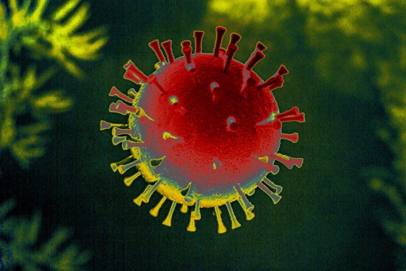 Le virus COVID-19 est représenté par une sphère entourée de pics proéminents, dans des tons jaune-orange.