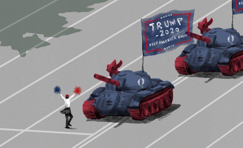 """Des chars au couleurs du drapeau américain portent un drapeau """"Trump 2020"""" tandis qu'un personnage se tient seul en travers du chemin, agitant des pompoms face aux canons."""