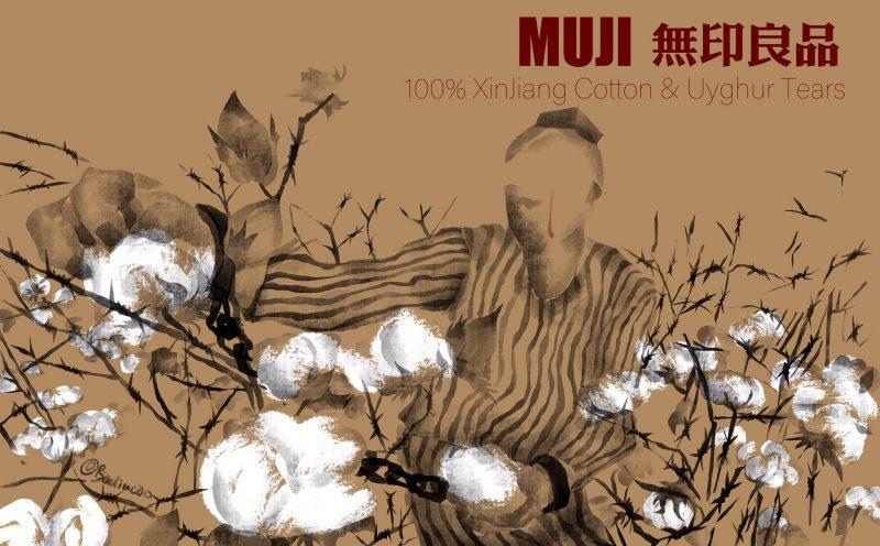 Une aquarelle représente un prisonnier en uniforme rayé en train de récolter des fleurs de coton.
