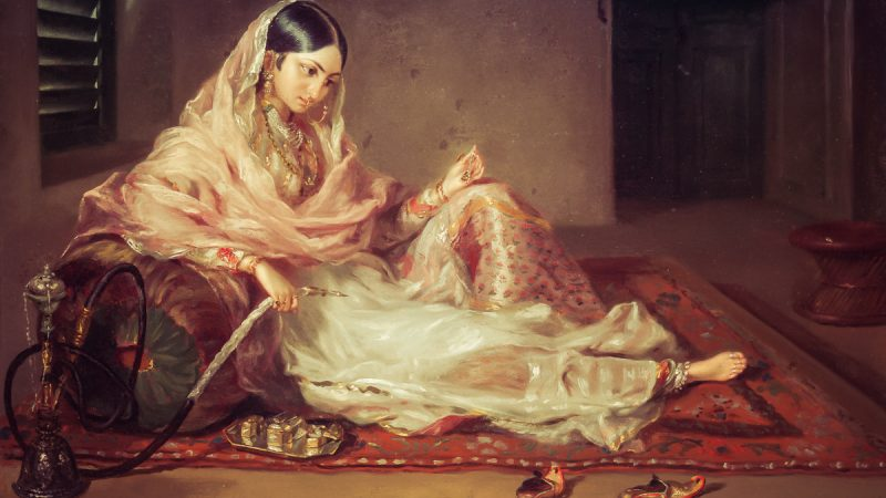 A woman in Bengal region of the Indian subcontinent, clad in fine Bengali muslin, 18th century, painted by Francesco Renaldi. Image via Wikipedia. Public Domain.