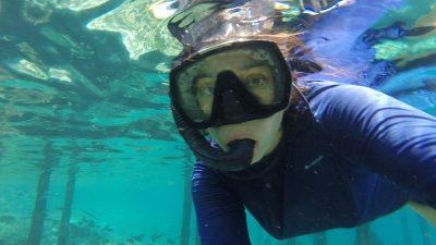 Le Dr Patricia Castillo Briceño prend un selfie sous l'eau. On la voit derrière un masque de plongée, dans une eau très claire.