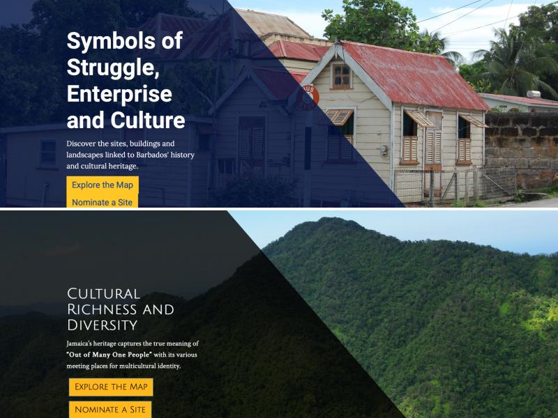 Deux captures d'écran, l'une du site du Registre national des sites historiques de la Barbade, et l'autre du site de l'Inventaire national des sites historiques de la Jamaïque.
