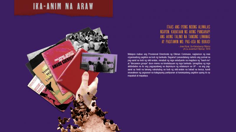 Sur fond mauve, une main trien des documents d'archive. L'image est accompagnée d'un texte explicatif en langue philippine.