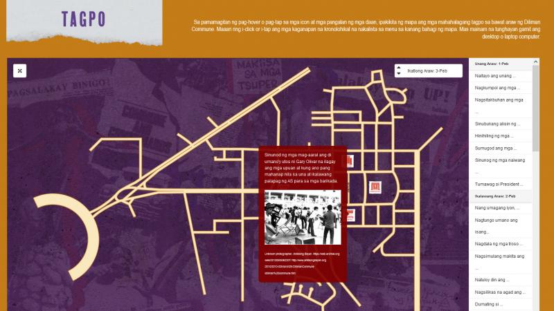 La carte a un design dépouillé, montrant les routes et quelques sites importants. Un menu déroulant permet d'accéder aux fiches explicatives.