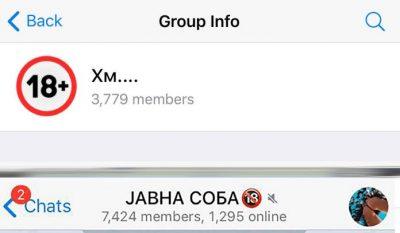 Capture d'écran de la présentation du groupe Chambre Publique (7424 membres) et du groupe Hm.... (3779 membres). La photo du groupe Hm.... est un panneau +18 ans.