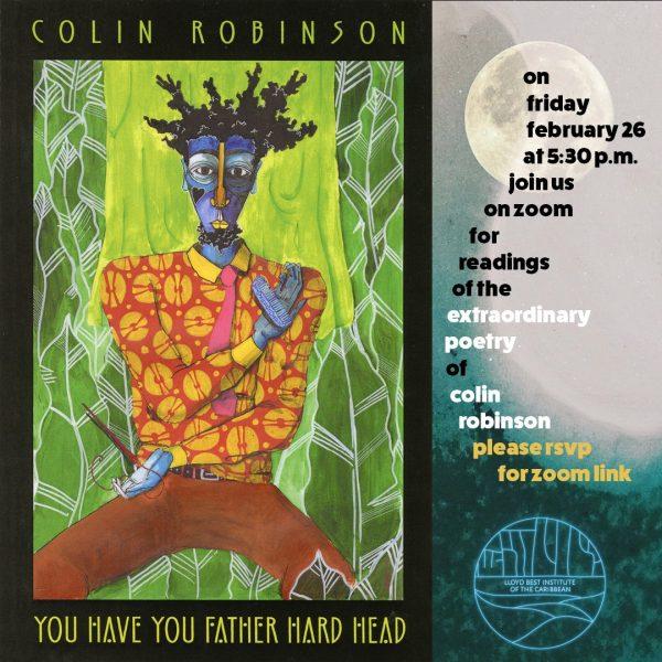 Illustration de l'invitation, sur laquelle se trouve, à gauche, un dessin coloré représentant un homme noir assis au pied d'un arbre, une main posée au-dessus du cœur. Dans la partie droite se trouvent les informations de la conférence.