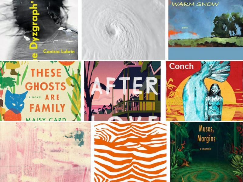 Assemblage avec le couvertures colorées des neuf ouvrages en lice pour le prix OCM Bocas pour la littérature caribéenne.
