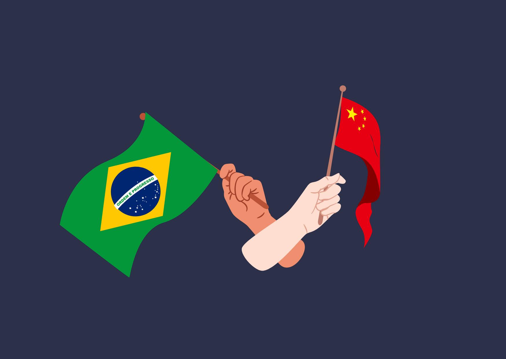 Réalisé par l'auteure de l'article original, le dessin représente deux avant-bras croisés, chaque main tenant un drapeau, celui du Brésil et celui de la Chine, le tout sur un fond bleu très foncé.