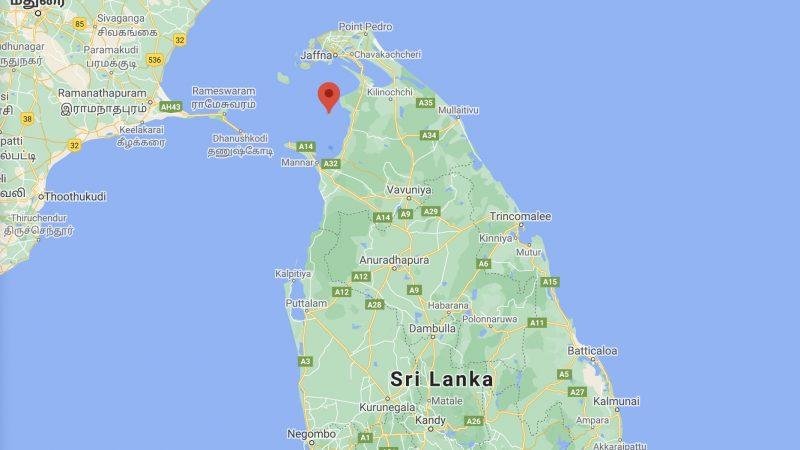 Posizione dell'isola Iranaitivu in Sri Lanka. Screenshot da Google Maps