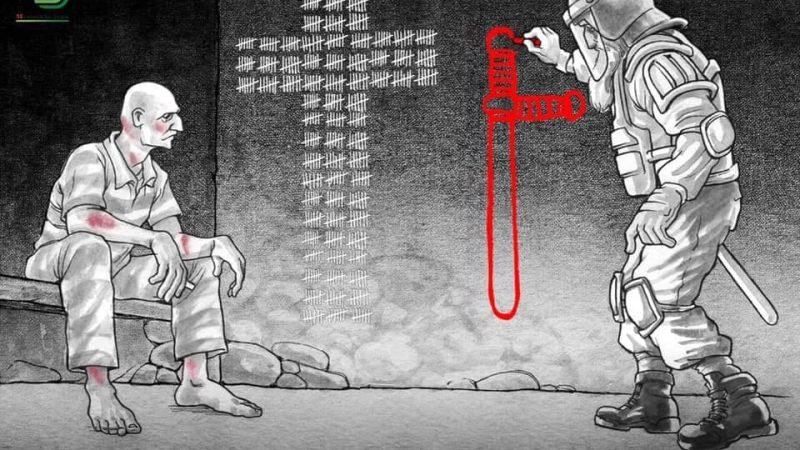 L'image est une caricature. Elle représente deux hommes, un prisonnier et un homme barbu en tenue de protection totale. Le prisonnier est assis sur un banc, dans un vêtement de prisonnier. Il a des marques rouges (des blessures) sur le corps, et tient une craie blanche entre les doigts. Sur le mur, près de lui, il décompte les jours, sous la forme du dessin d'une grande croix blanche. L'autre homme, debout, est en train de dessiner, en rouge, la forme d'une croix. Celle-ci apparaît différente de la 1ère dans la mesure où elle est réalisée « sous le contrôle de l'autorité ».