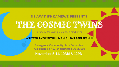 Affiche de The Cosmic Twins, représentant une lune bleue sur la gauche et un soleil rouge sur la droite, sur un fond bicolore en deux tonalités de vert.