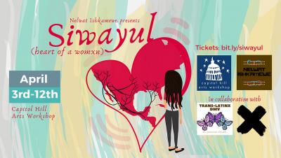 Affiche de Siwayul, avec un dessin représentant une jeune femme de dos se tenant devant un cœur à moitié coloré en rouge et d'où sortent des racines.