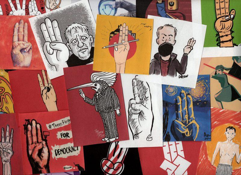 Uma colagem de ilustrações com o símbolo de três dedos pela democracia. Imagem do site Raise Three Fingers.