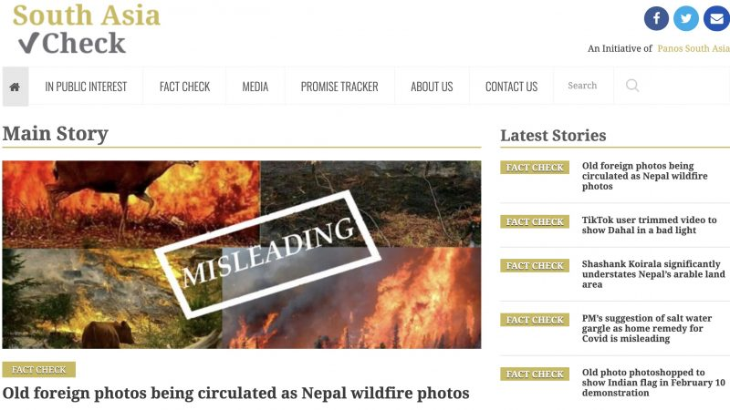 Screenshot of the South Asia Check Website.