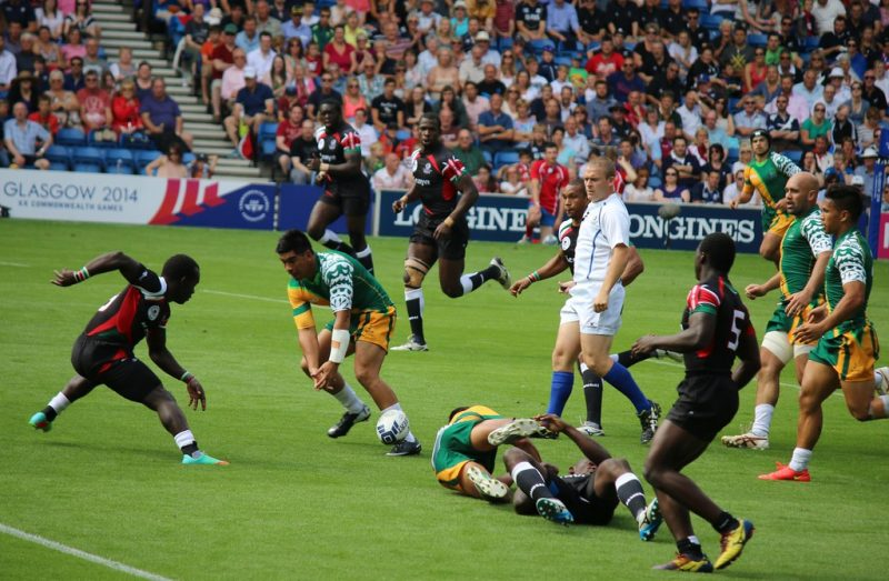 """""""Kenya v Cook Islands - Rugby Sevens - Glasgow 2014 Commonwealth Games"""" by Sum_of_Marc is licensed under CC BY-NC-ND 2.0"""