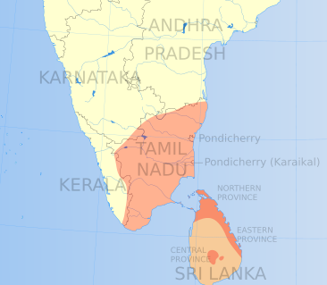 Areas in India and Sri Lanka where Tamil is spoken.