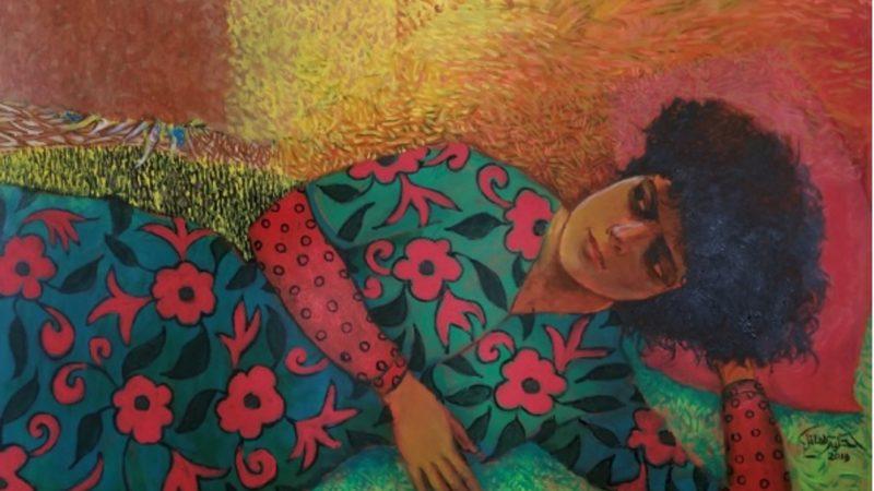 الاكريليك على قماش. تم استخدامها بإذن من الفنان حكيم العاقل.