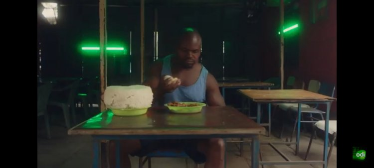 A screen grab of a re-enacted video that went viral featuring Charles Odongo now popularly known as Ugali man