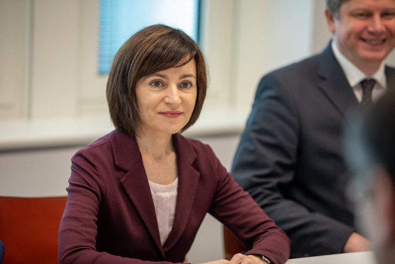 Moldovan President Maia Sandu at a meeting in the European Parliament in Brussels, Belgium, 2019. Image from Renew Europe 2019 on Flickr, CC BY-NC-ND 2.0.