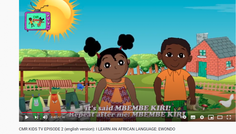 A YouTube screen grab of CMR KIDS TV -a TV channel on YouTube fteaches young Cameroonian children languages such as Ewondo, Dioula, their culture and history.