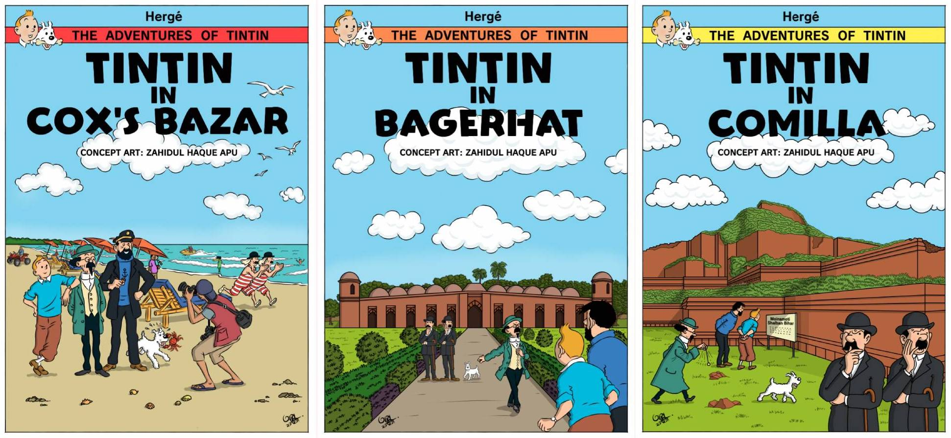 Tintin in front of various historical sites and tourist spots in Bangladesh. Image used with permission.
