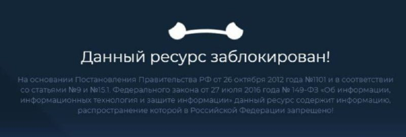 A screenshot posted by Team Navalny to their Telegram channel on July 26 of a browser message saying Navalny's website is blocked.