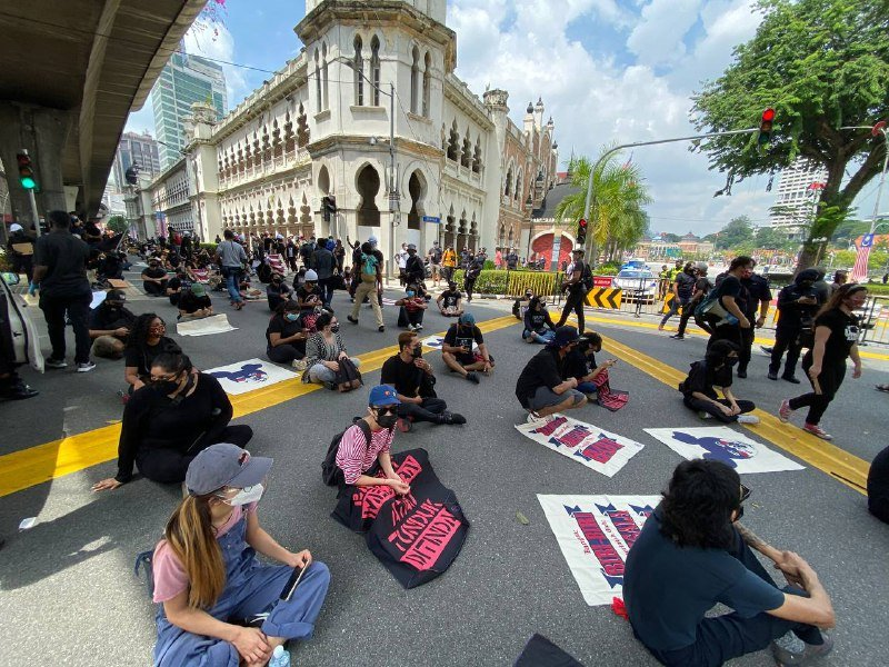 #Lawan protest demands the resignation of Malaysian prime minister over pandemic response