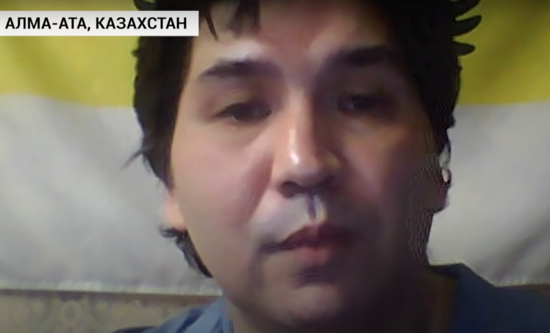 Yermek Taichibekov speaks in an interview to Ukraina.ru, a Russian state-funded media outlet. Screenshot from YouTube.