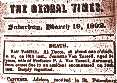 The news of Jeanette's death was published in the Bengal Times on March 19, 1892.