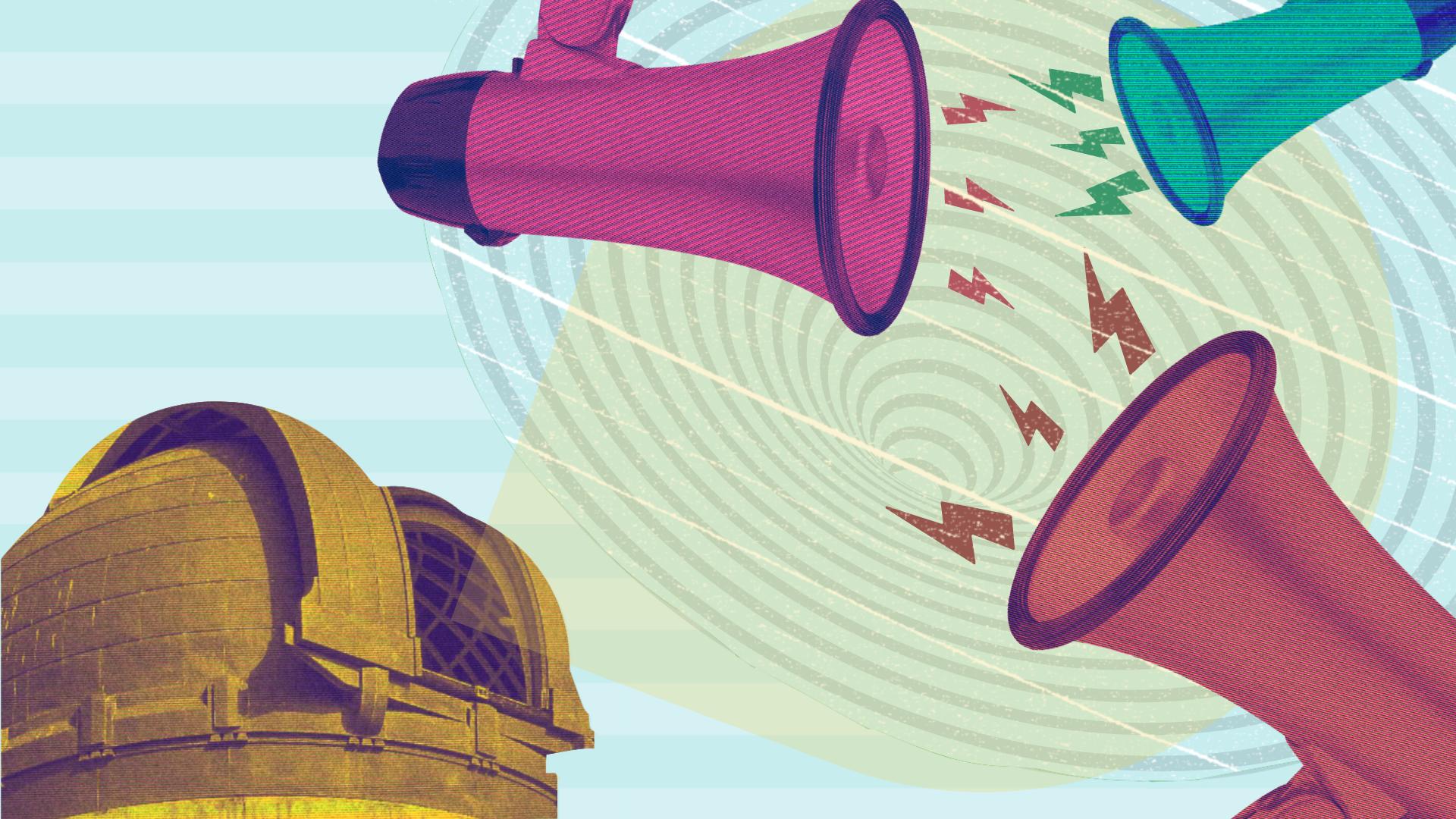 Observatory shining light on noisy megaphones