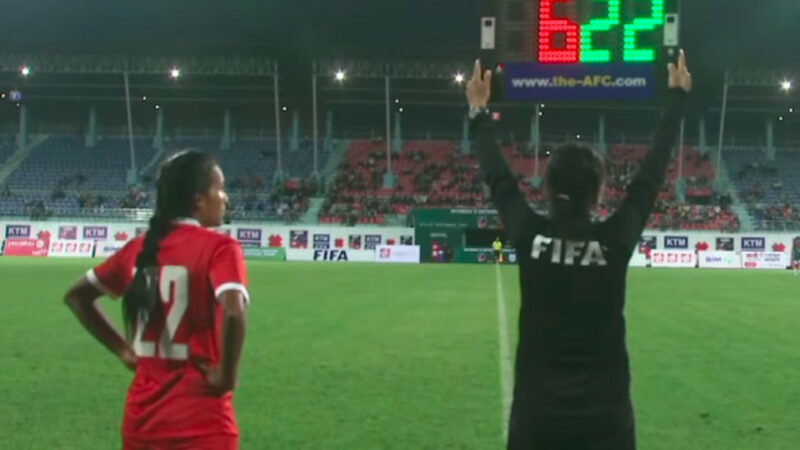 Srijana Singh Thakuri on 9 September at her national team debut in a match against Bangladesh in Kathmandu. Nepal won 2-1. Photo: via Nepali Times. Used with permission.